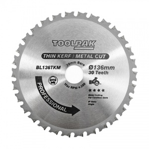 136mm x 20mm x 30T Thin Kerf Cordless TCT Saw Blade - Metal