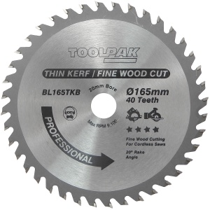 165mm x 20mm x 40T Thin Kerf Cordless TCT Saw Blade