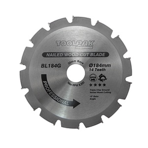 184mm x 30mm x 14T Nailed Wood TCT Saw Blade