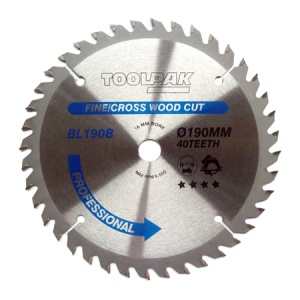 190mm x 16mm x 40T Professional TCT Saw Blade