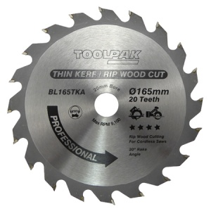 165mm x 20mm x 20T Thin Kerf Cordless TCT Saw Blade