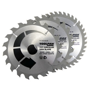 180mm x 30mm TCT Circular Saw Blades Pack of 3