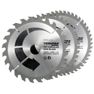 200mm x 30mm TCT Circular Saw Blades Pack of 3