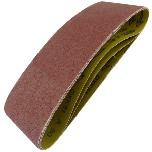 100mm x 610mm Sanding Belt 80 Grit Pack of 3