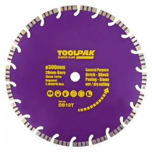 300mm x 20mm General Purpose Diamond Blade 10mm Turbo Segment