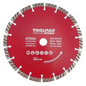 230mm x 22.23mm Diamond Blade 10mm Turbo Segment