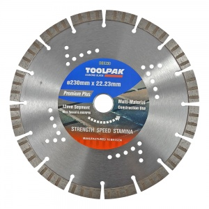 230mm x 22.23mm Multi-Material Diamond Blade 12mm Turbo Segment