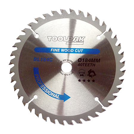 184mm x 16mm x 40T Professional TCT Saw Blade