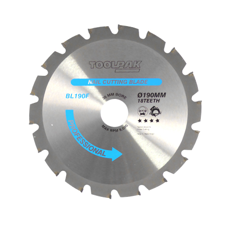 190mm x 30mm x 18T Nailed Wood TCT Saw Blade