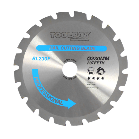 230mm x 30mm x 20T Nailed Wood TCT Saw Blade